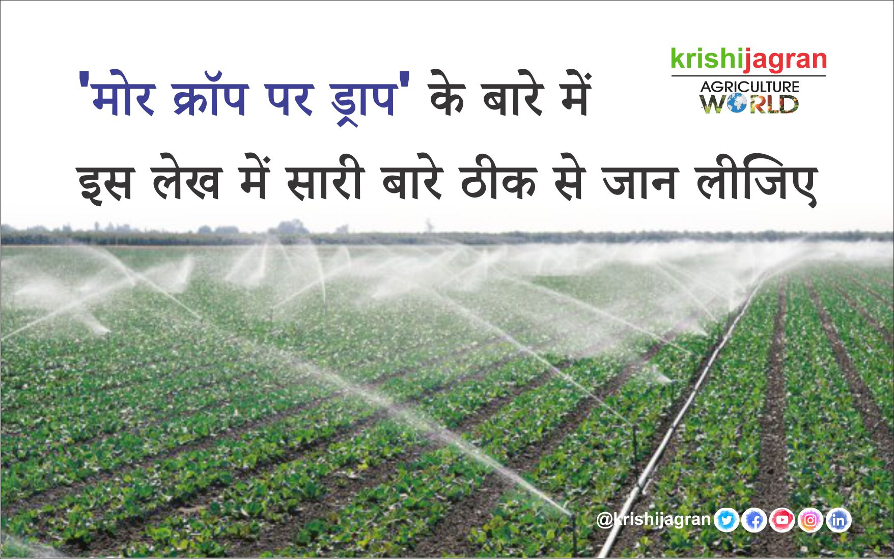 Irrigation With Drip And Sprinkler Method, 'Drop Crop On More Crop'
